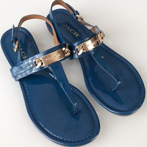 Coach Caterine Patent Sandal Blue Gold 7.5 EUC